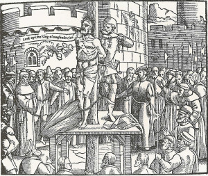 "William Tyndale, before being strangled and burned at the stake, cries out, ""Lord, open the King of England's eyes"""